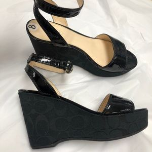 Black Patent Leather COACH Wedge Sandals